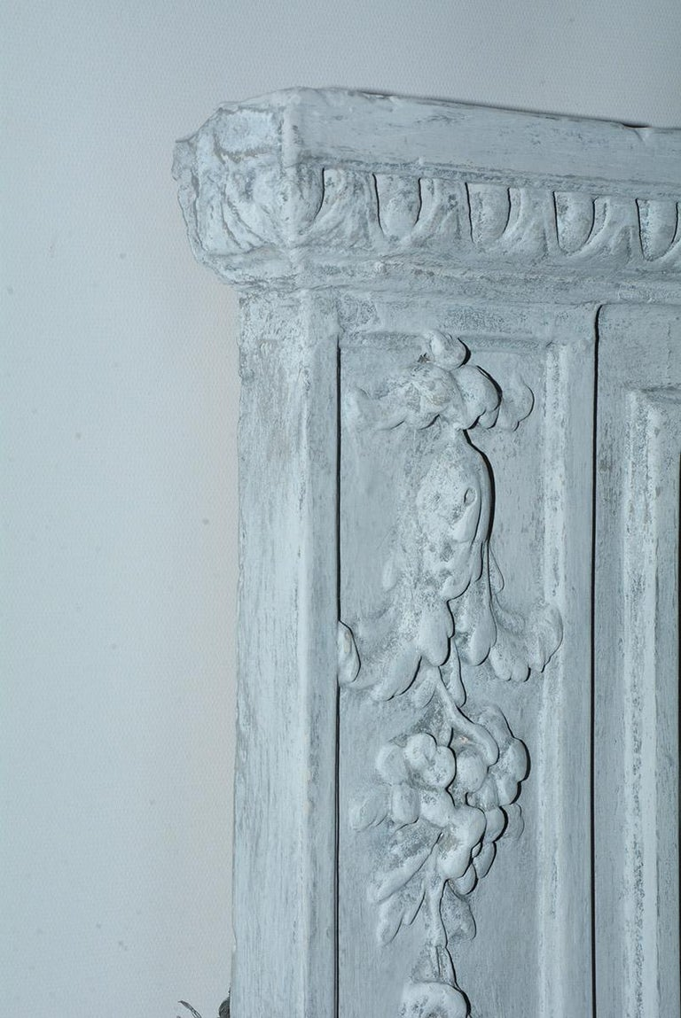 Wood Antique French Neoclassical Mantel Mirror For Sale