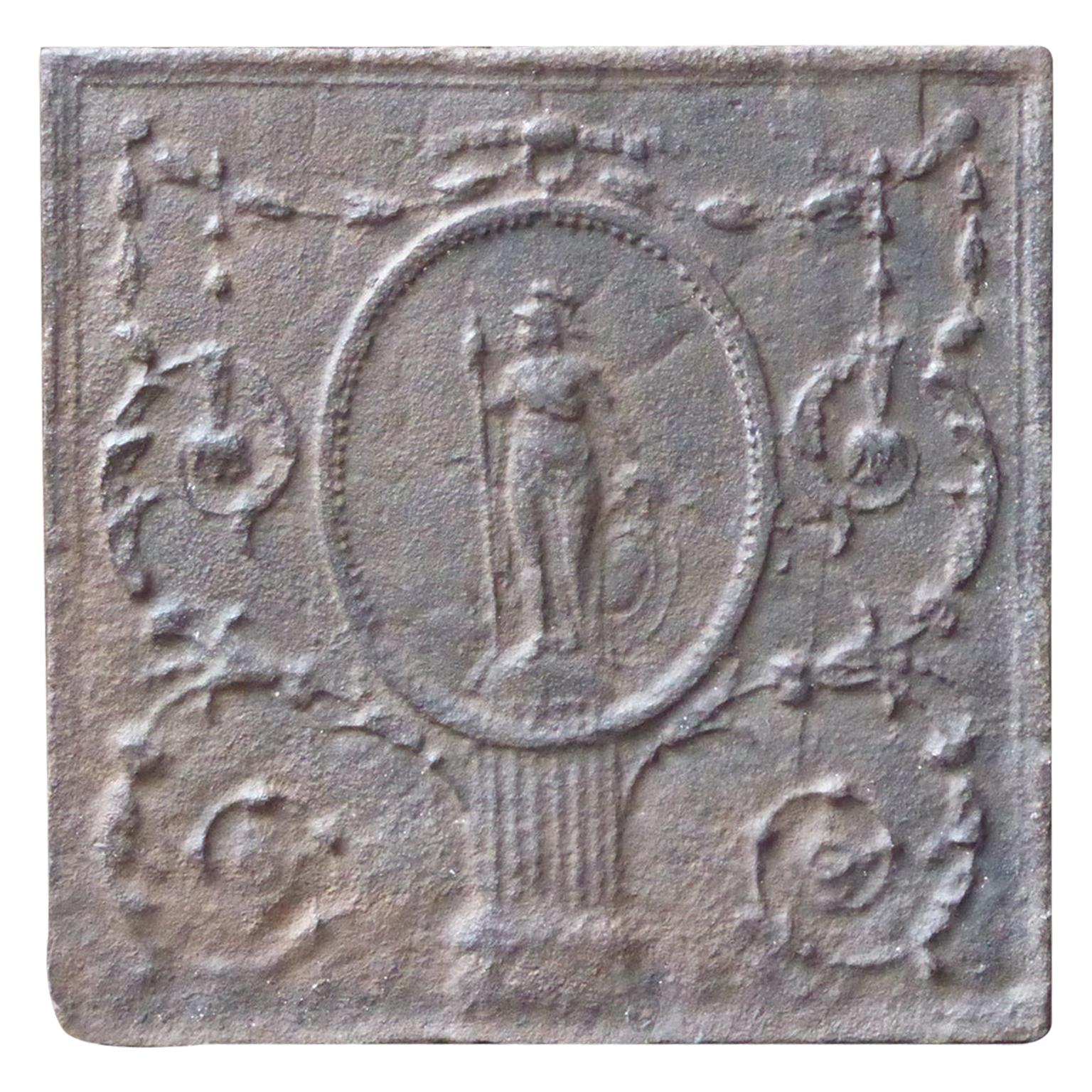 Antique French Neoclassical 'Minerva' Fireback, 18th-19th Century