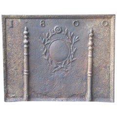 Antique French Neoclassical 'Pillars of Freedom' Fireback, Dated, 1800