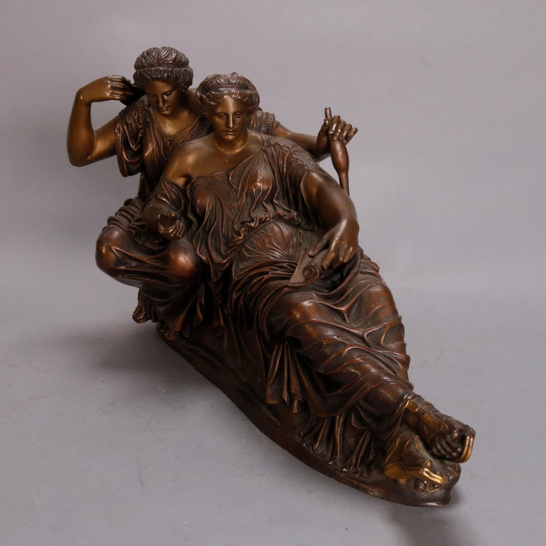 French Neoclassical Recumbent Figural Bronze Portrait Sculpture, circa 1890 In Good Condition For Sale In Big Flats, NY
