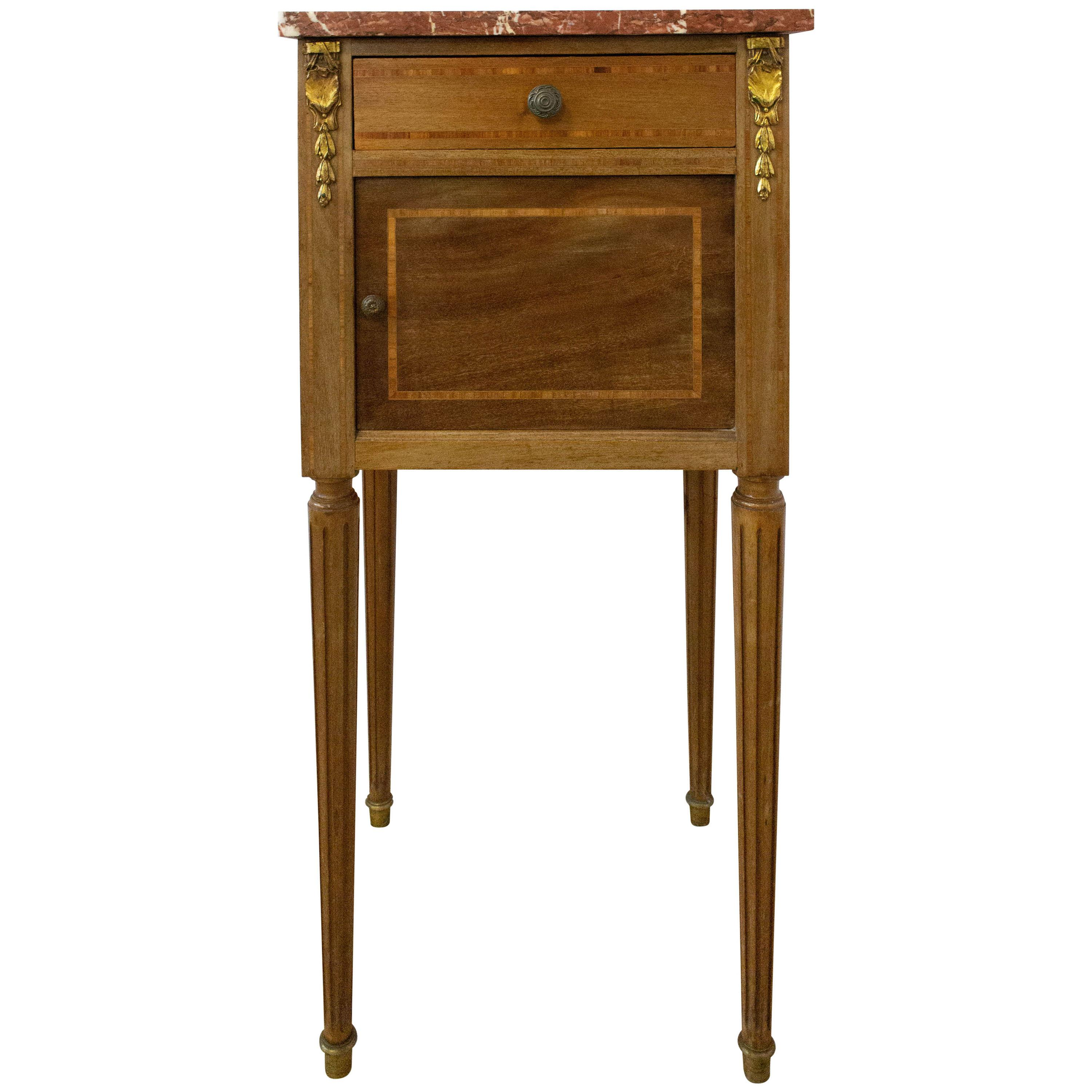 Antique French Nightstand Side Cabinet Bedside Table Mahogany Marble Top, 1900