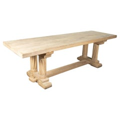 Antique French Normandy Washed Oak Baluster Trestle or Farm Table