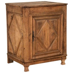 Antique French Oak Cabinet with Diamond Detail in Door and Sides