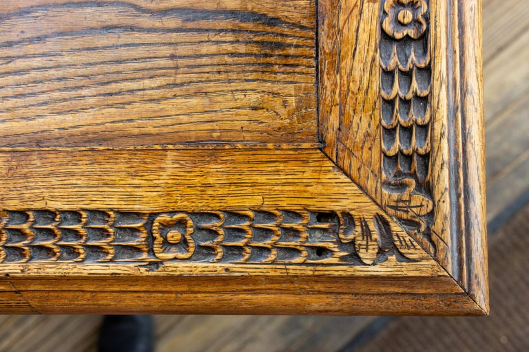 Antique French Oak Carved Gothic Style Writing Desk with Drawer & Iron Hardware For Sale 5