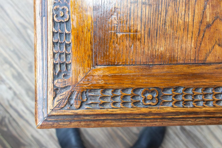 Antique French Oak Carved Gothic Style Writing Desk with Drawer & Iron Hardware For Sale 7