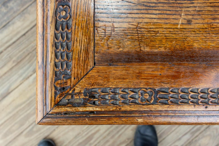 Antique French Oak Carved Gothic Style Writing Desk with Drawer & Iron Hardware For Sale 8