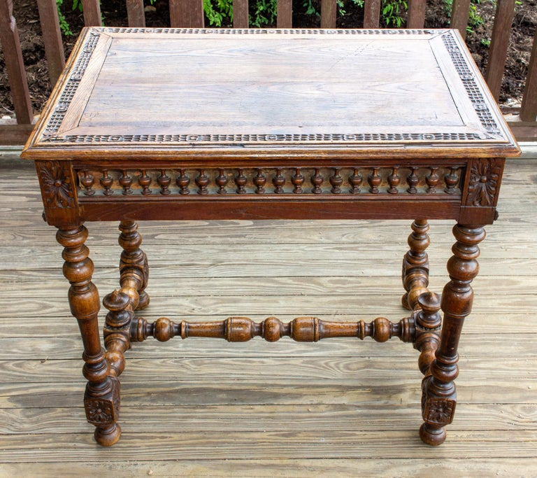 Antique French Oak Carved Gothic Style Writing Desk with Drawer & Iron Hardware For Sale 9