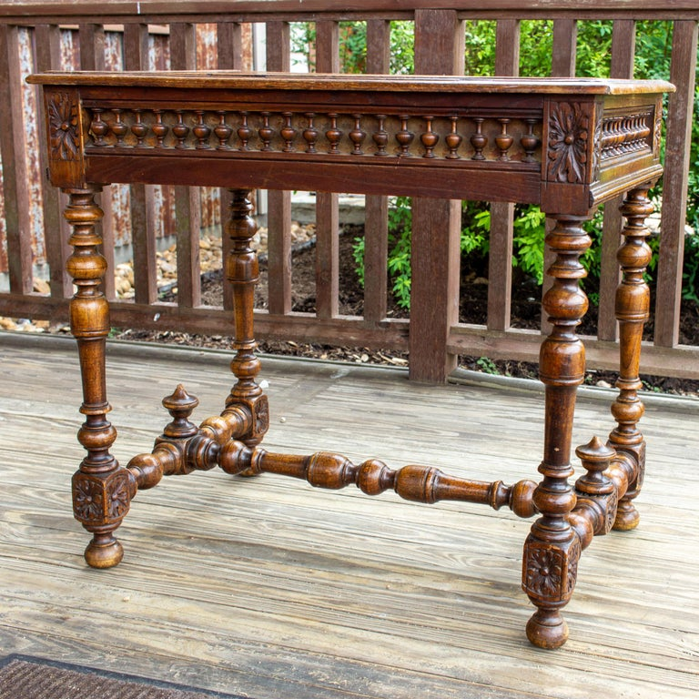 Antique French Oak Carved Gothic Style Writing Desk with Drawer & Iron Hardware For Sale 10