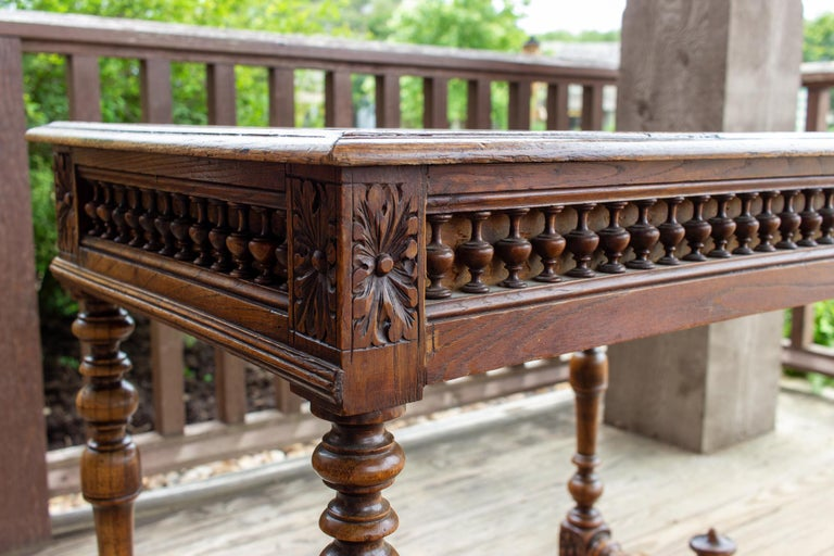 Antique French Oak Carved Gothic Style Writing Desk with Drawer & Iron Hardware For Sale 15