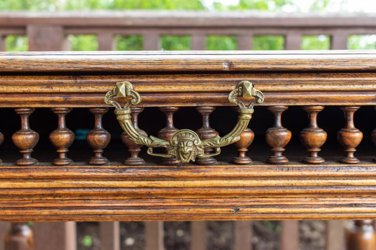Gothic Revival Antique French Oak Carved Gothic Style Writing Desk with Drawer & Iron Hardware For Sale