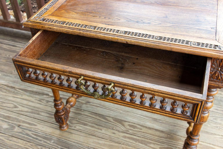 Antique French Oak Carved Gothic Style Writing Desk with Drawer & Iron Hardware In Good Condition For Sale In Houston, TX