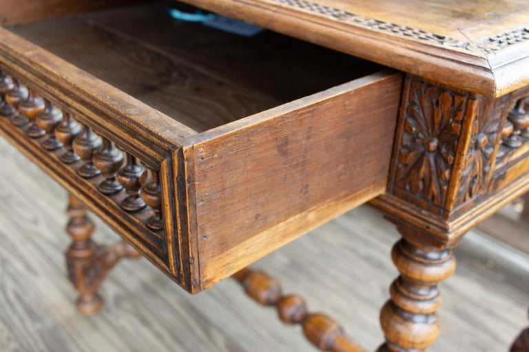 20th Century Antique French Oak Carved Gothic Style Writing Desk with Drawer & Iron Hardware For Sale