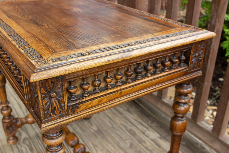 Antique French Oak Carved Gothic Style Writing Desk with Drawer & Iron Hardware For Sale 1