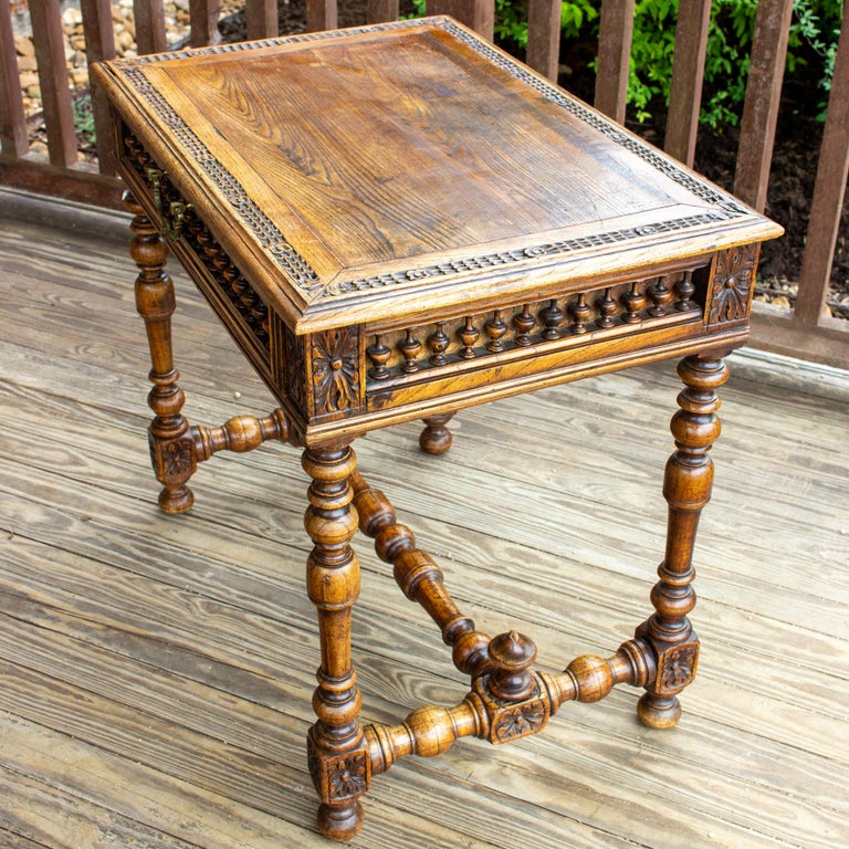Antique French Oak Carved Gothic Style Writing Desk with Drawer & Iron Hardware For Sale 2