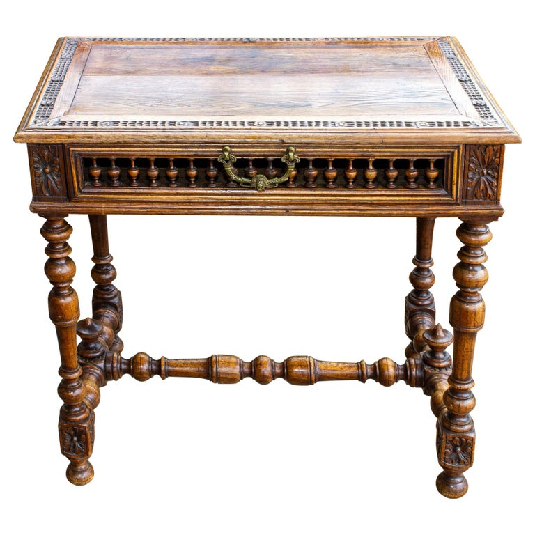 Antique French Oak Carved Gothic Style Writing Desk with Drawer & Iron Hardware For Sale