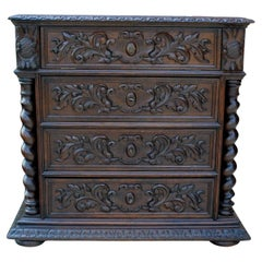 Antique French Oak Chest of Drawers Renaissance Barley Twist Entry Commode