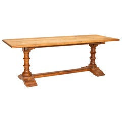 Antique French Oak Dining Table with Trestle Base