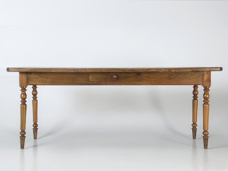 Antique French Oak Farm House Dining or Kitchen Table with Pass-Through Drawer For Sale 5