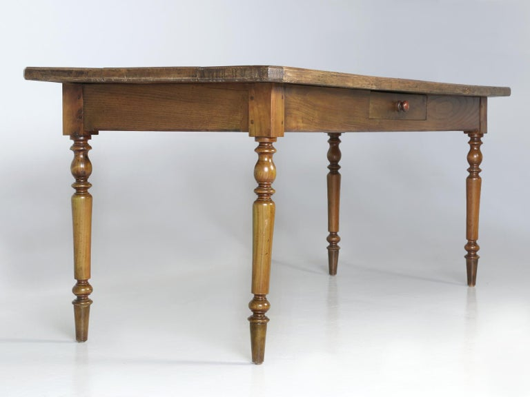 Antique French Oak Farm House Dining or Kitchen Table with Pass-Through Drawer For Sale 11