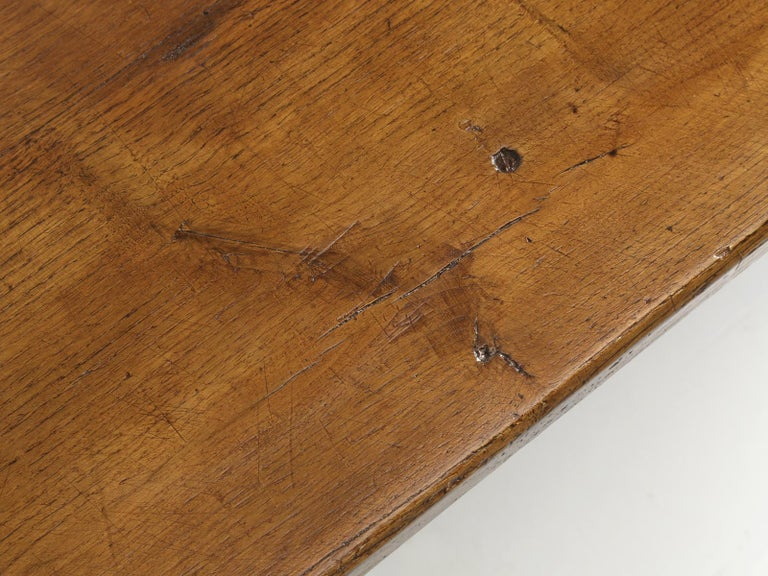 Antique French Oak Farm House Dining or Kitchen Table with Pass-Through Drawer For Sale 1