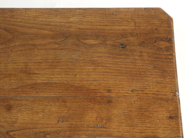 Antique French Oak Farm House Dining or Kitchen Table with Pass-Through Drawer For Sale 2