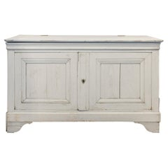 Antique French Oak Hinged Top Buffet in Greige Wash