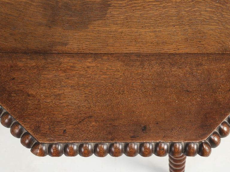 Country Antique French Oak Side Table or End Table Completely Restored For Sale
