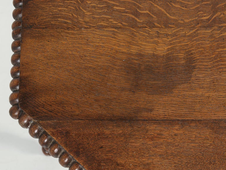 Hand-Crafted Antique French Oak Side Table or End Table Completely Restored For Sale
