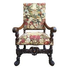 Antique French Oak Throne Armchair Louis XIV Barley Twist Renaissance Tapestry