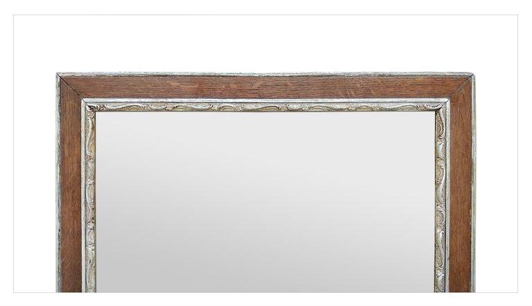 Antique French Oak Wood and Silvered Mirror, circa 1940 In Good Condition For Sale In Paris, FR