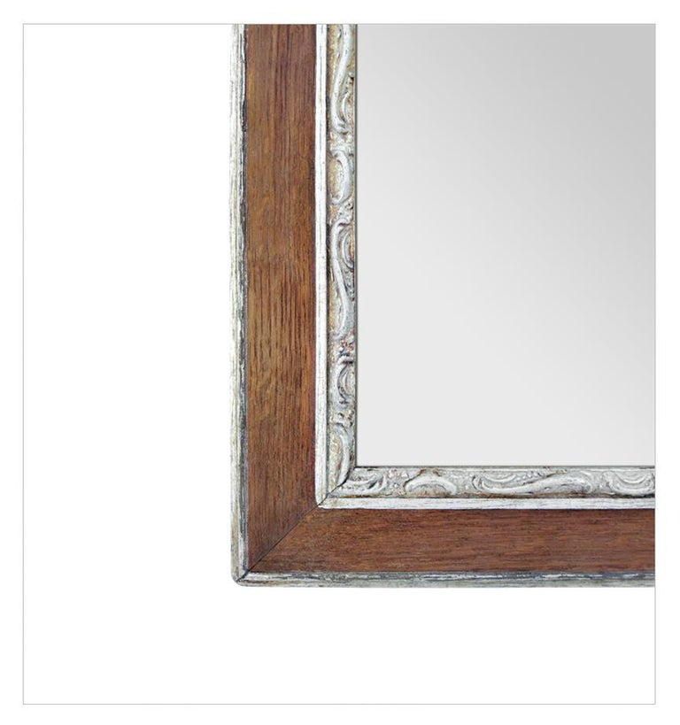 Mid-20th Century Antique French Oak Wood and Silvered Mirror, circa 1940 For Sale