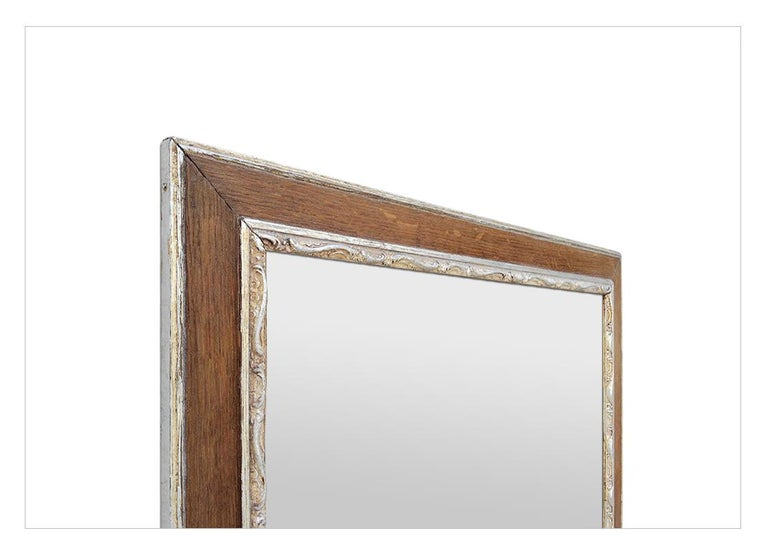 Antique French Oak Wood and Silvered Mirror, circa 1940 For Sale 1
