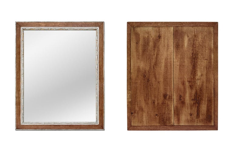 Antique French Oak Wood and Silvered Mirror, circa 1940 For Sale 2