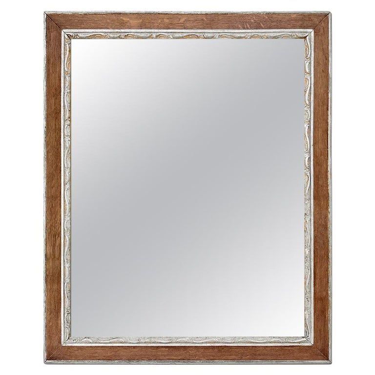 Antique French Oak Wood and Silvered Mirror, circa 1940 For Sale