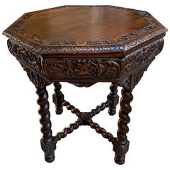 Antique French Octagon TABLE BARLEY TWIST Carved Oak Center Sofa Renaissance