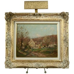 Antique French Oil on Board Landscape Farm House Painting by Jean Masse