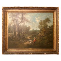 "Antique French Oil on Canvas Landscape Painting by ""Ch. Henry,"" Circa 1900-1925"