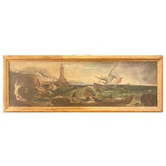 Antique French Oil on Canvas Seascape