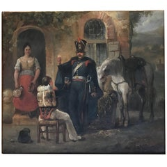 Antique French Oil Painting Depicting Soldiers Drinking and a White Horse Eating