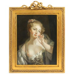 Antique French Oil Painting of a Young Maiden Gilded Frame, 1850, 19th Century