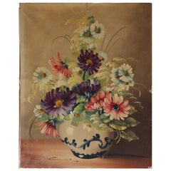 Antique French Oil Painting of Flowers in a Vase