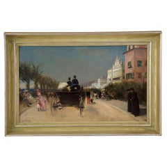 Antique French Oil Painting of Nice, France circa 1883 by Gabriel Edouard Nicole