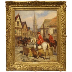 Antique French Oil Painting on Board by Desvarreux, 1876-1963