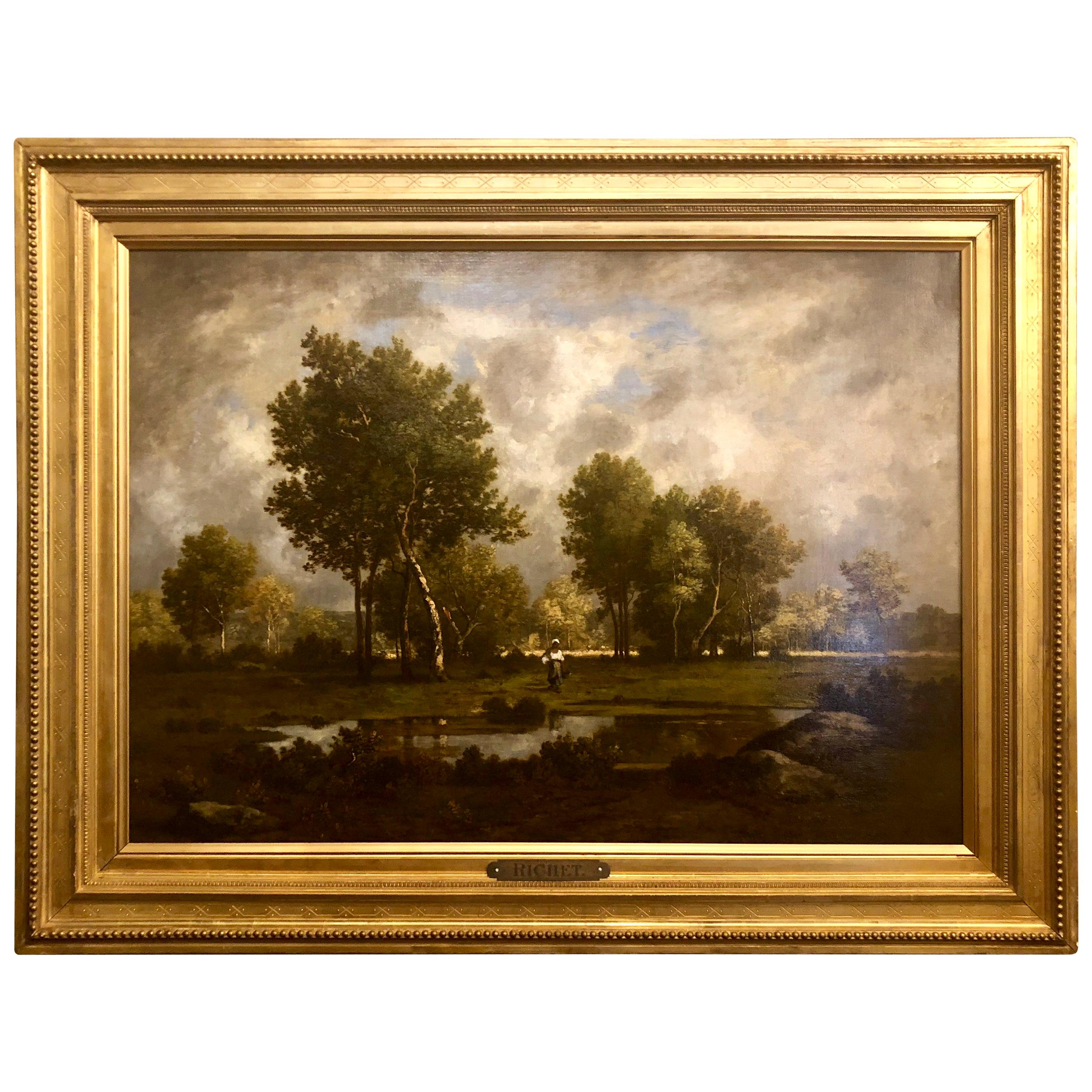 """Antique French Oil Painting """"Peasant Woman at Edge of the Pond,"""" by Leon Richet"""