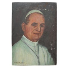 Antique French Oil Portrait Painting on Wood of Catholic Pope Paul VI France
