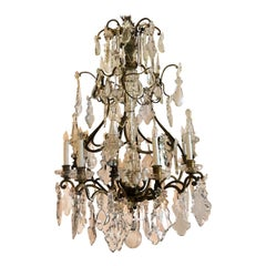 Antique French Old Baccarat Crystal and Bronze Chandelier, circa 1880s