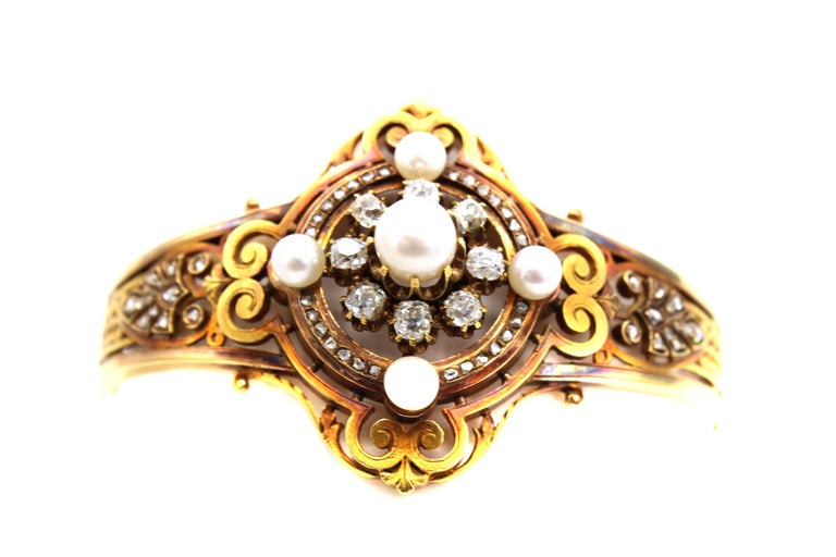 Victorian Antique French Old Mine Diamond Pearl Gold Bangle Bracelet For Sale