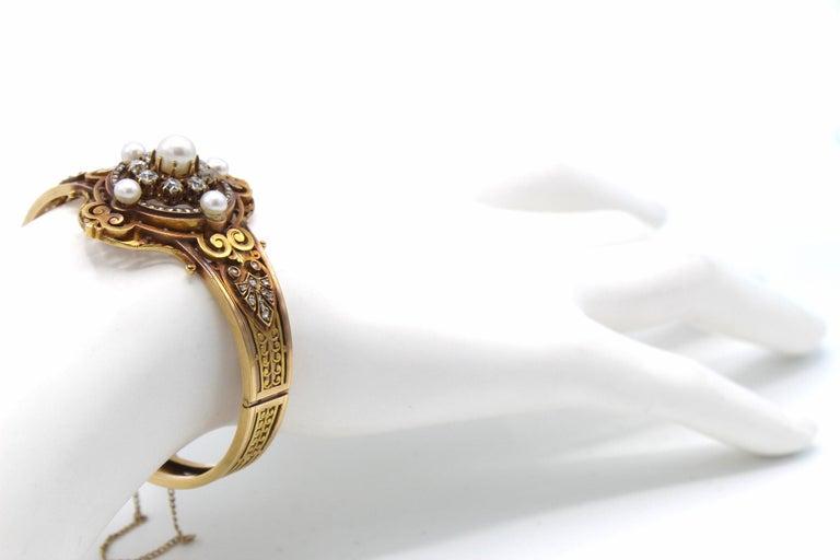 Women's or Men's Antique French Old Mine Diamond Pearl Gold Bangle Bracelet For Sale