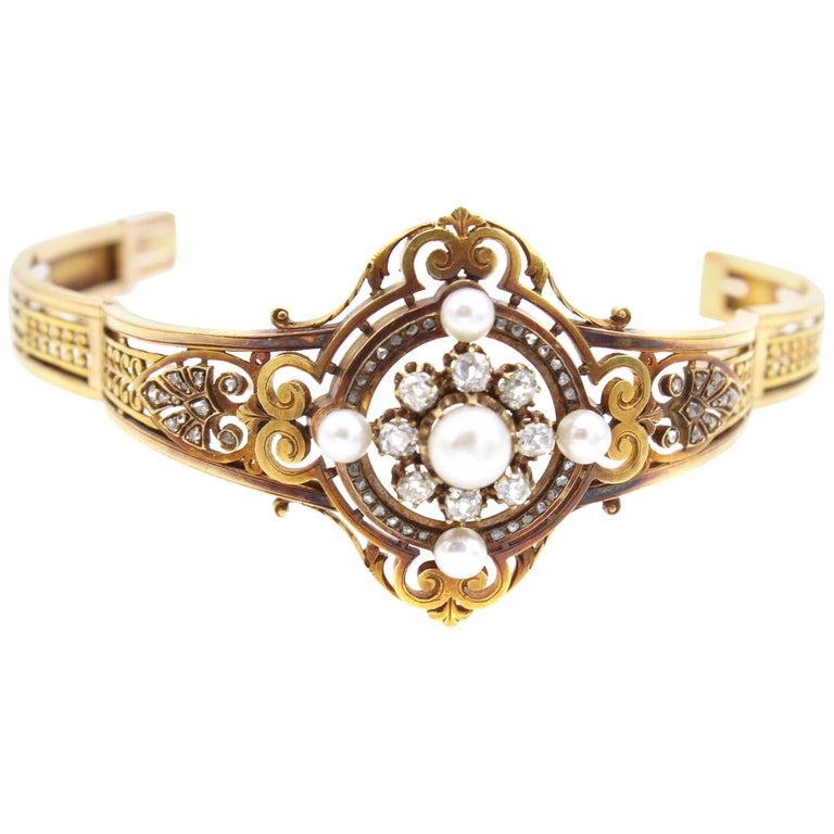 Antique French Old Mine Diamond Pearl Gold Bangle Bracelet For Sale