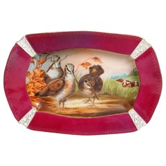 French Old Paris Hand Painted Porcelain Platter with Bird Hunt Scene, circa 1880